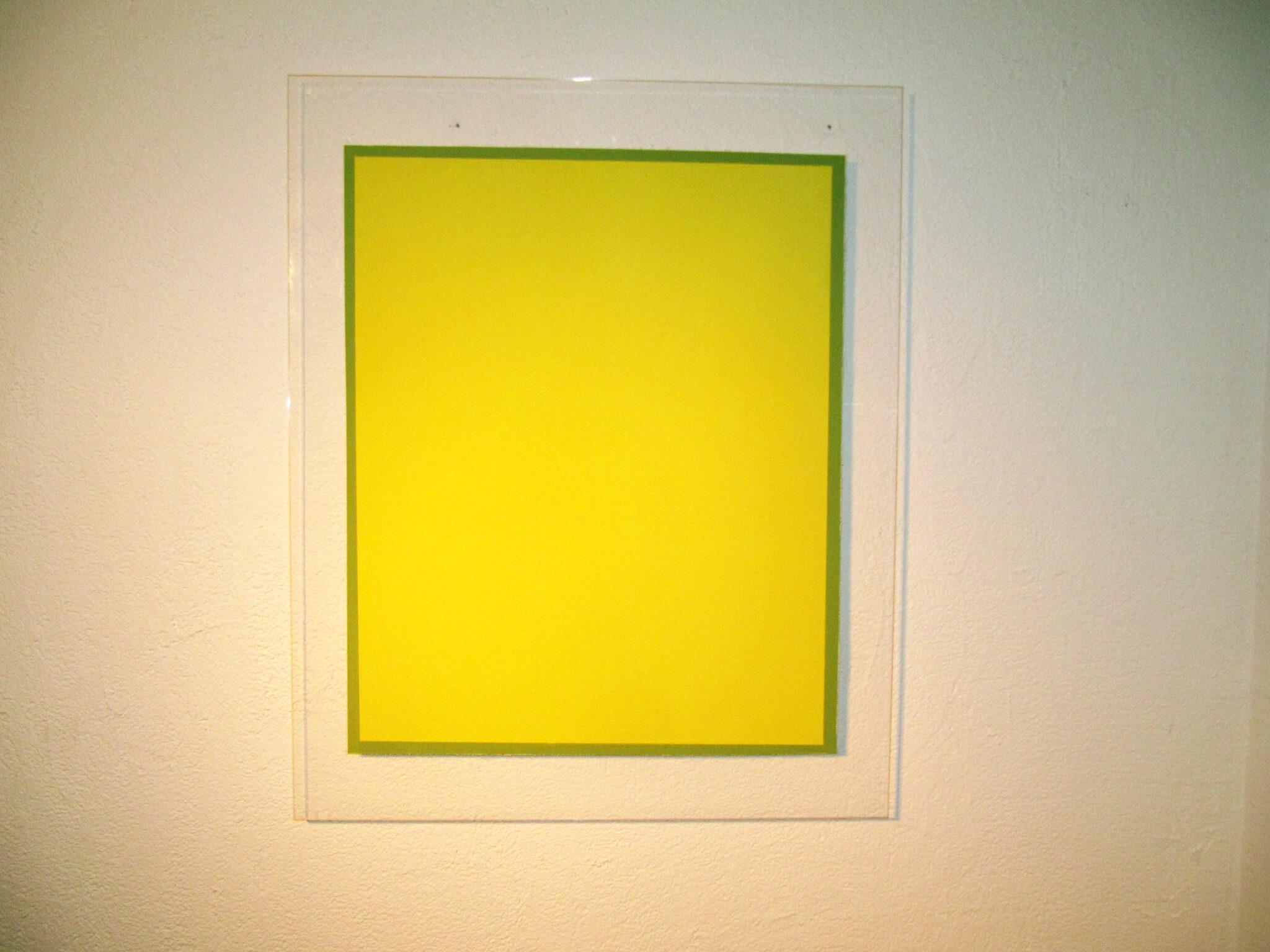 radical painting - gelb-blau, 2011 /pigmente auf plexi